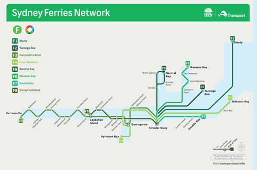 Sydney Ferries Route Map
